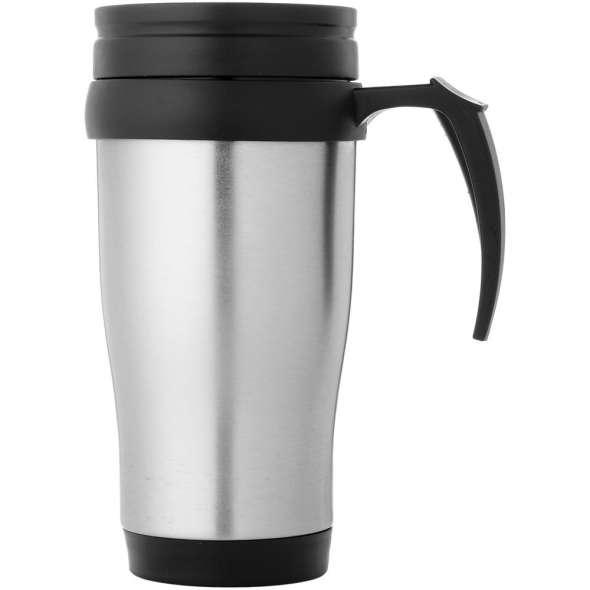 Sanibel 400 ml insulated mug, Silver, solid black